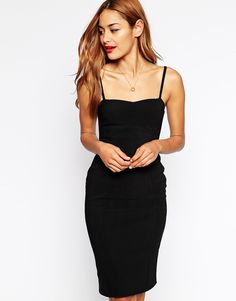 ASOS 90s Bodycon Dress with Seamed Detail in Rib