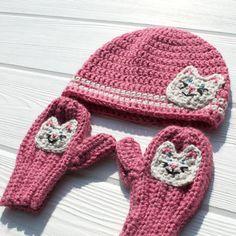 Kitty Hat and Mitten Set Crochet Cat Hat Children's by makinitmama