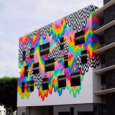 """""""Technicolor Ooze"""" is the new drippy #mural by psychedellic #artist @jenstark in Culver City #California #art #psychedellic #ooze #colors by allcitycanvas"""