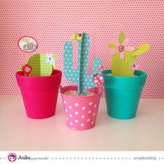 Cómo hacer cactus de papel. Aprende con Anita y su mundo a hacer un mini #jardín de #cactus con #papel #scrapbook.  #DIY #cactusplants #plants #cute #handmade #tutorials #craft #manualidades #homedecor