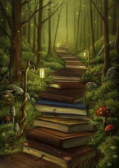 Kunst Zeichnungen - The Reader's Path - Awesome Art Pins Fantasy World, Fantasy Art, Fantasy Forest, Fantasy Places, Wall Prints, Canvas Prints, Canvas Artwork, Wallpaper Aesthetic, Futuristic Architecture