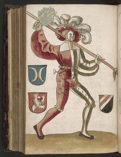 Schonbartbuch, 125 of 176, 1520, Nuremberg, Bavaria; full page colored drawings of the participants in the Schembart Carnival in Nürnberg from 1449-1539, with their names, a description of their costumes, and, for some years, an account of the most important events.