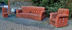 Inspiracje. www.domzcegły.pl Concrete Furniture, Garden Furniture, Outdoor Furniture Sets, Outdoor Decor, Brick Cladding, Brickwork, Backyard Pavilion, Backyard Patio, Built In Bbq Grill
