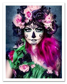 Sugar Skull (Pink and Green) 11x14 Poster Board Print. $22.00, via Etsy.