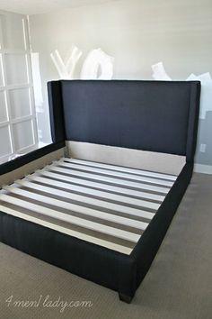 DIY Upholstered Wing Bed. - 4 Men 1 Lady