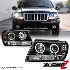 1999 2004 Jeep Grand Cherokee Wj Wg Black Led Halo Angel Eye Projector Headlight