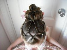 With curly pony and bow