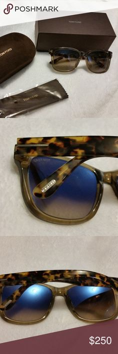 Tom Ford Tortoise with Olive Lens Sunglasses New in Case    Lens width: 57 millimeters      Bridge: 17 millimeters     Arm: 145 millimeters     Frame Material: Plastic     Lens Material: Plastic     Lens Width: 57mm     Bridge: 17mm     Arm: 145mm Tom Ford Accessories Sunglasses
