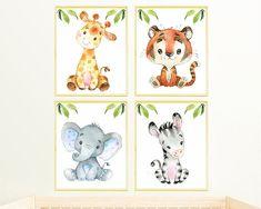 safari Nursery decor, Safari Nursery print canvas set of 4 animal poster Nursery Animal Baby Animal Prints Baby Animals Art playroom art