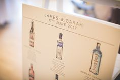 Gin Table Plan. Theme your wedding reception tables around your favourite gin bottles! Each bottle is hand painted and illustrated by Harriet and put together on a beautiful keepsake table plan.