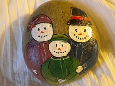 hand painted snowman family rock | Flickr - Photo Sharing!