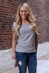 Gray Top with Sequin Sleeves & Pocket