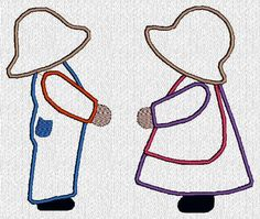 sunbonnet sue and sam applique patterns | Applique Sunbonnet Sue and Sam Machine by embroiderygirl on Etsy