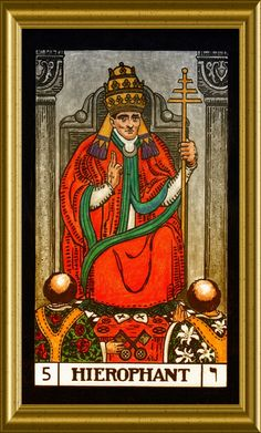 The Hierophant. All cards are a work in progress, hand colored, then framed using Corel Paintshop. The Hierophant, Tarot Major Arcana, Magic Forest, Fortune Teller, Oracle Cards, Tarot Decks, Hand Coloring, Tarot Cards, Mystic