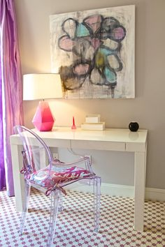Adorable tween bedroom with gray walls, silk purple curtains, West Elm Parsons Desk with Drawers in White, Kartell Ghost Chair with Kelly Wearstler Bengal Bazaar in Magenta cushion and Robert Abbey Delta Schiaparelli Pink High Table Lamp. Home Office, Office Decor, Office 2020, Office Nook, Teen Girl Bedrooms, Big Girl Rooms, Teen Bedroom, Master Bedroom, Bedroom Decor