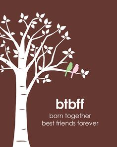 BTBFF - Born Together, Best Friends Forever - Love birds on Branch - Nursery Gift for Twins - Custom baby gift - 8x10 Print on Etsy, $15.00
