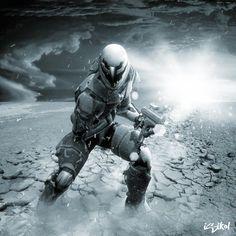 Future, Survival, Post-Apocalyptic, Future Warrior, man with gun, futuristic look, helmet, armor