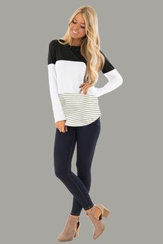 7e0f4e00d63e8 Long Sleeve Curved Hem Striped Splicing T-Shirt Casual Tops Blouse