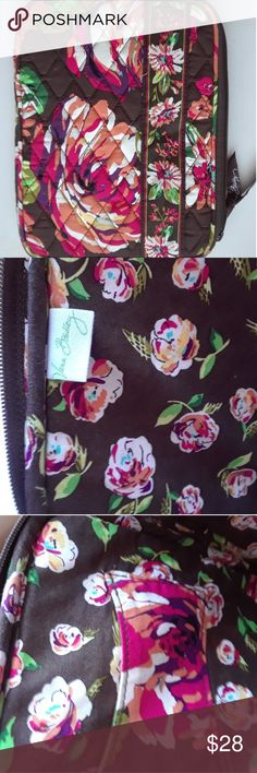 VERA BRADLEY Tablet Case EUC, no issues, no fading, no holes, little or no wear: GORGEOUS chocolate brown background w/ shades of pink, purple, orange, yellow, green rose roses print! Measures 8 x 6.5 inches, zip top Vera Bradley Bags Laptop Bags