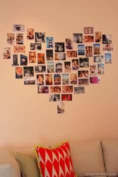 Tacked photos in the shape of a heart