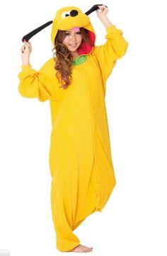 2014 New Animal Anime Pluto Kigurumi Pajamas Yellow One Piece Halloween Adult Uniesex Onesie Couple Hooded Jumpsuits Plus Size US $26.98