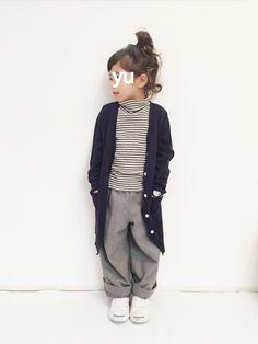 yuuunaさんのTシャツ・カットソー「GLOBAL WORK 【キッズ】ソデレースタートル長袖/568289」を使ったコーディネート