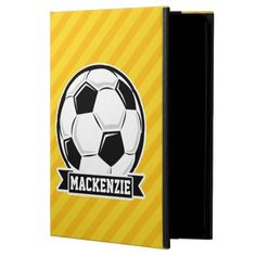 Soccer Ball on Yellow Stripes Case For iPad Air