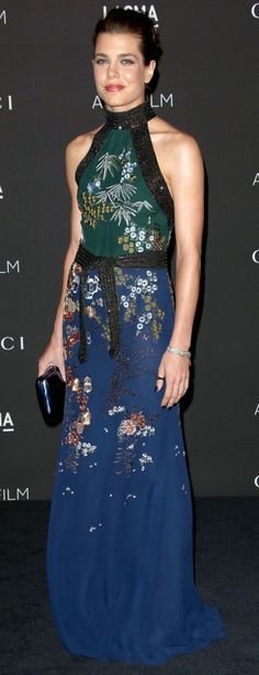 Carlota Casiraghi wore a Gucci SS 2015 gown to attend the LACMA Art + Film Gala.