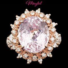 $10200 CERTIFIED 14K ROSE GOLD 10.00CT NATURAL PINK KUNZITE 1.40CT DIAMOND RING #Cocktail