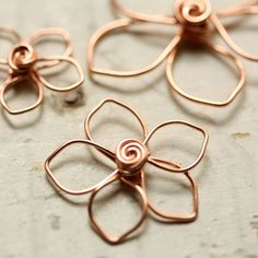 3 Wirework Flowers Pointed Petals Solid Copper Mix Assortment - Handmade Wire Connector, Charm, or Pendant