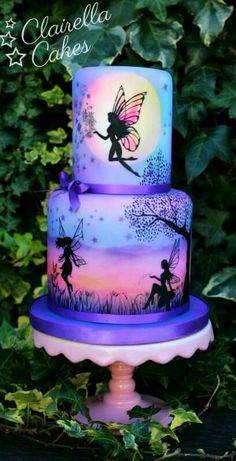 purple fairy cake in silloutte. My Cupcake Addiction by Elise Strachan Gorgeous Cakes, Pretty Cakes, Cute Cakes, Amazing Cakes, Crazy Cakes, Bolo Fashionista, Airbrush Cake, Hand Painted Cakes, Fairy Cakes