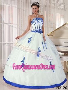 White Strapless Satin and Organza Quinceanera Dress with Appliques