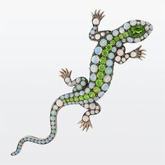 Art Nouveau Jeweled Salamander Brooch