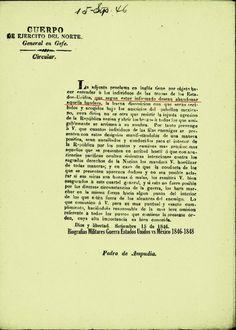 AVISO: A todos los desertores del Ejercito Norteamericano, Septiembre de 1846