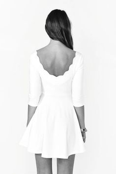 Nasty Gal Scalloped Skater Dress in White (ivory) - Lyst Look Fashion, Fashion Beauty, Womens Fashion, Dress Fashion, Nail Fashion, High Fashion, Luxury Fashion, Skater Dress, Dress Skirt