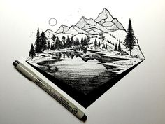 Derek Myers - That mountain texture is REALLY good for what I'm looking for in a mountain tattoo mountain tattoo Natur Tattoos, Kunst Tattoos, Xoil Tattoos, Tatoos, Inspiration Art, Art Inspo, Mountain Texture, Stylo Art, Illustrator