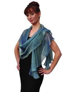 Silk Iridescent Chiffon Scarf Wrap Moro Bridal Women's Evening Accessory $48.00
