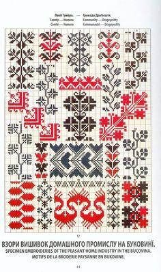 Ukrainian and Romanian embroidery of Bukovyna-Bucovina Cross Stitch Bookmarks, Cross Stitch Borders, Cross Stitch Designs, Folk Embroidery, Cross Stitch Embroidery, Embroidery Patterns, Seed Bead Patterns, Beading Patterns, Cross Stitch Patterns
