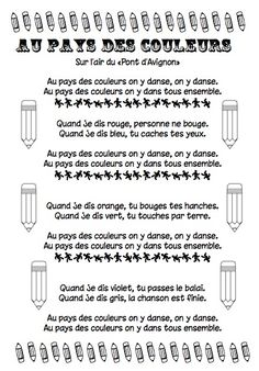"""Chanson """"Au pays des couleurs"""" French Poems, French Colors, French Immersion, Preschool Math, Songs To Sing, Lectures, Color Shapes, Teaching, Activities"""