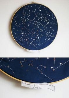 Constellations of the northern hemisphere. or a quilt. Cross Stitching, Cross Stitch Embroidery, Hand Embroidery, Diy Love, Diy Broderie, Bordados E Cia, Star Chart, Ideias Diy, Textile Art