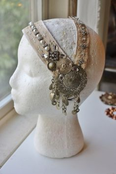 Cream antique assuit headdress by the Verdant Muse