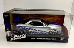 Brians Nissan Skyline GT-R R34 Fast & Furious 1/24 Scale Diecast Car Model By Jada 97158 New Package