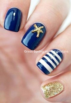 These Are 50 Gorgeous Summer Nail Designs You Need To Try! These Are 50 Gorgeous Summer Nail Designs You Need To Try!,Nail designs These Are 50 Gorgeous Summer Nail Designs You Need To Try! Diy Nails, Cute Nails, Sailor Nails, Nautical Nails, Nautical Nail Designs, Beach Nail Designs, Pedicure Designs, Summer Acrylic Nails Designs, Striped Nail Designs