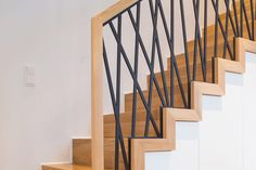 Staircase Railing Design, Interior Stair Railing, Modern Stair Railing, Staircase Handrail, Home Stairs Design, Iron Stair Railing, Modern Stairs, House Design, Dark Wooden Floor