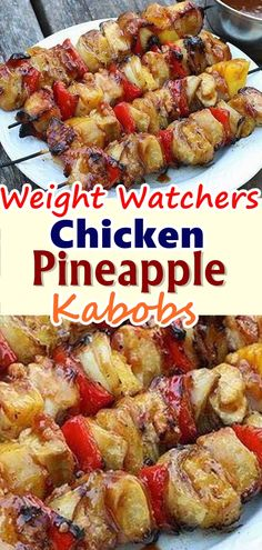Everyone loved this recipe. It was extremely easy. It also is very low fat. Next time I would eliminate the powder and use fresh chopped garlic and ginger. I did not marinate the pineapples with the raw chicken (that didn't seem safe to me). Skinny Recipes, Ww Recipes, Healthy Dinner Recipes, Healthy Snacks, Healthy Eating, Cooking Recipes, Skinnytaste Recipes, Dessert Recipes, Pineapple Kabobs