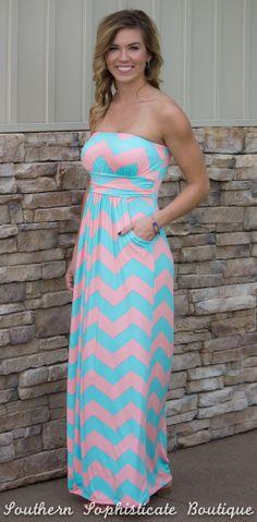 Pink/Mint Chevron Maxi Dress