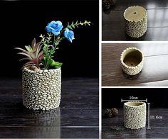 Diy CONCRETE SILICONE MOLD Round Small Medium or Large Pebble Concrete Plant Pots, Concrete Molds, Cement Pots, Diy Concrete, Small Plants, Small Flowers, Potted Plants, Flower Vases, Flower Pots