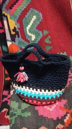 Mini sacola de crochê - Nádia Rezende