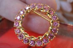NIB Signed GERRY'S Hot Pink Rhinestone Brooch Pin FALL Vintage Fashion Jewelry  #Gerrys #Wreathvintagejewelry