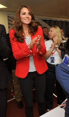 Kate Middleton Wore a Red Blazer and Polka Dots Last Friday : Lucky Magazine.  I love her sense of style. Gotta get me a red blazer.